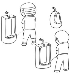 Set of man peeing vector