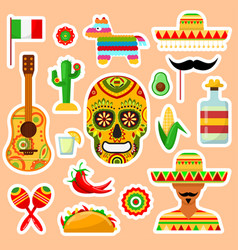 set of mexican stickers vector image