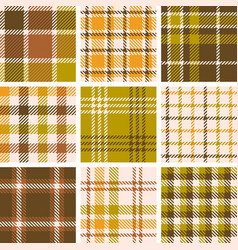 Set of plaid seamless pattern for fall season vector