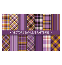 Set plaid pattern seamless tartan patterns fabric vector