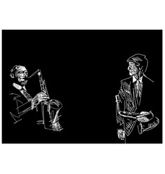 Set two saxophone players vector