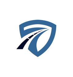 Sheild with a road logo template vector