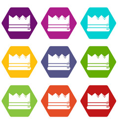 Silver crown icons set 9 vector