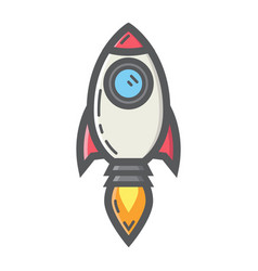 start up colorful line icon business and rocket vector image