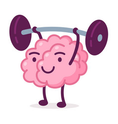 Strong pink brain lifting barbell funny human vector