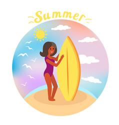 summer surfer girl rides waves ocean vector image