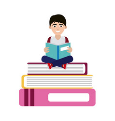 Teen with open book sitting on books home vector