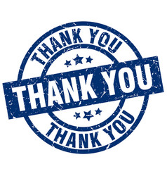 thank you blue round grunge stamp vector image