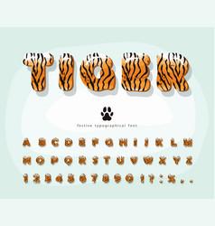 Tiger skin cartoon font funny colorful alphabet vector