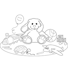 Toys coloring page vector image