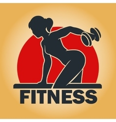 Training woman fitness emblem vector