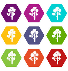tree icons set 9 vector image