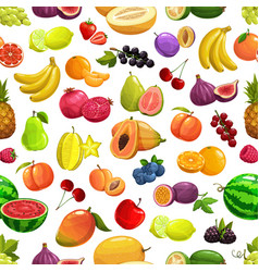 tropical fruit and berries pattern background vector image
