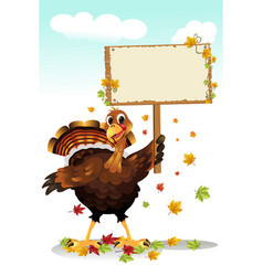 turkey holding a sign vector image
