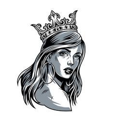 Vintage pretty woman in crown vector