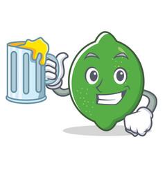 with juice lime mascot cartoon style vector image