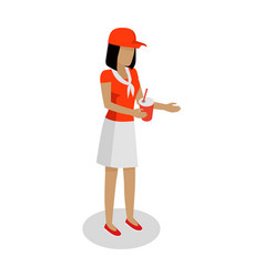 Woman in red and white uniform sales cola vector