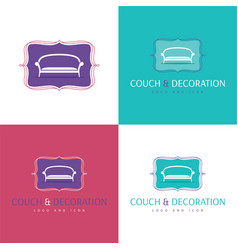 couch and decoration logo and icon vector image vector image
