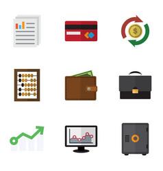 Flat icon gain set of document portfolio vector