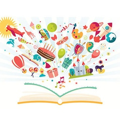 Imagination concept open book with objects flying vector image