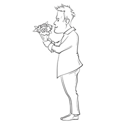man holding bouquet vector image