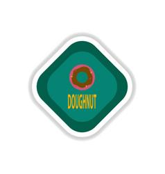 Paper sticker on white background donut vector