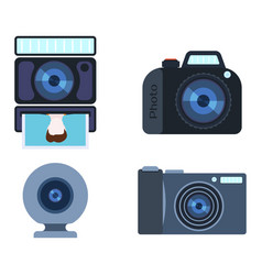 retro photo camera set vector image