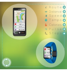 Smartphone and smart fitness watch vector image vector image