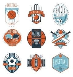 Sport clubs labels icons set vector image vector image