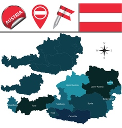 Austria map with named divisions vector image vector image