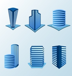 Building icon set in blue tone vector image vector image