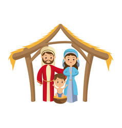cute manger family holy mary joseph and baby jesus vector image