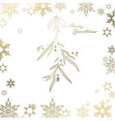handwritten christmas with hanging mistletoe - vector image vector image