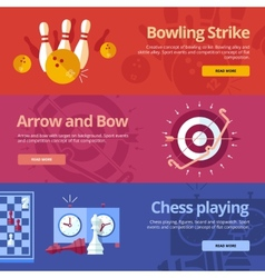 Set of flat design concepts for bowling strike vector image vector image