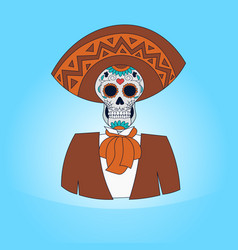 skull day of dead concept traditional mexican vector image