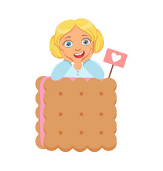 smiling little girl with a huge biscuit a vector image vector image