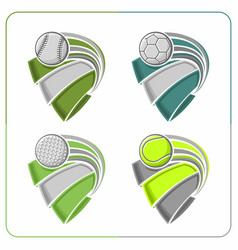 sports balls ribbons vector image