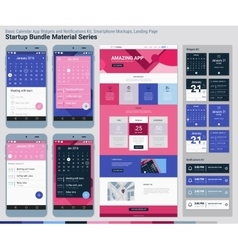 Startup Bundle Material Series Mobile App UI and vector image vector image