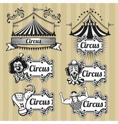 Vintage circus emblems logos labels set vector