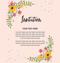 wedding invitation greeting card template vintage vector image vector image