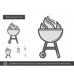 Charcoal grill line icon vector image vector image