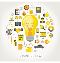 Business Idea Light Bulb and Creative Icons vector image