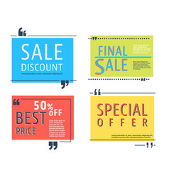 colored sale square template vector image vector image