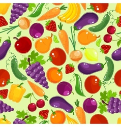Colorful fruit and vegetables seamless pattern vector image
