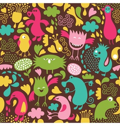 Cute monster background vector image vector image