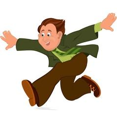 Happy cartoon man running with wide open hands vector image vector image