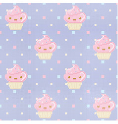 knitted seamless pattern with cupcakes on purple vector image