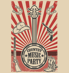 ountry music party poster template vintage banjo vector image
