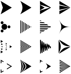 Set of Simple Black and White Arrows Icons vector image
