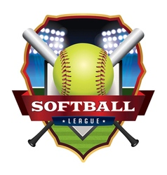 Softball League Badge Emblem Icon vector image